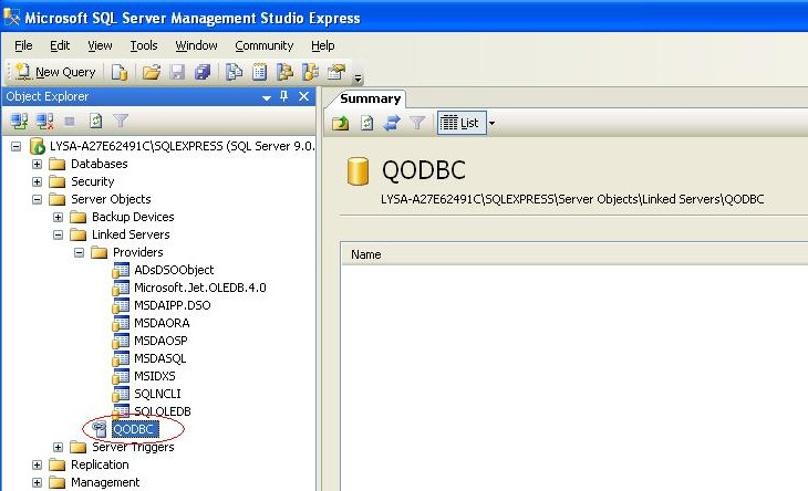 QODBC-Desktop] How to create Link Server with MS SQL 2005/2008