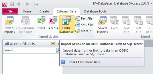 how to build a database in access
