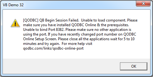 I Am Trying To Connect Quickbooks Online Using Qodbc But Getting Below Error At The Time Of Connection