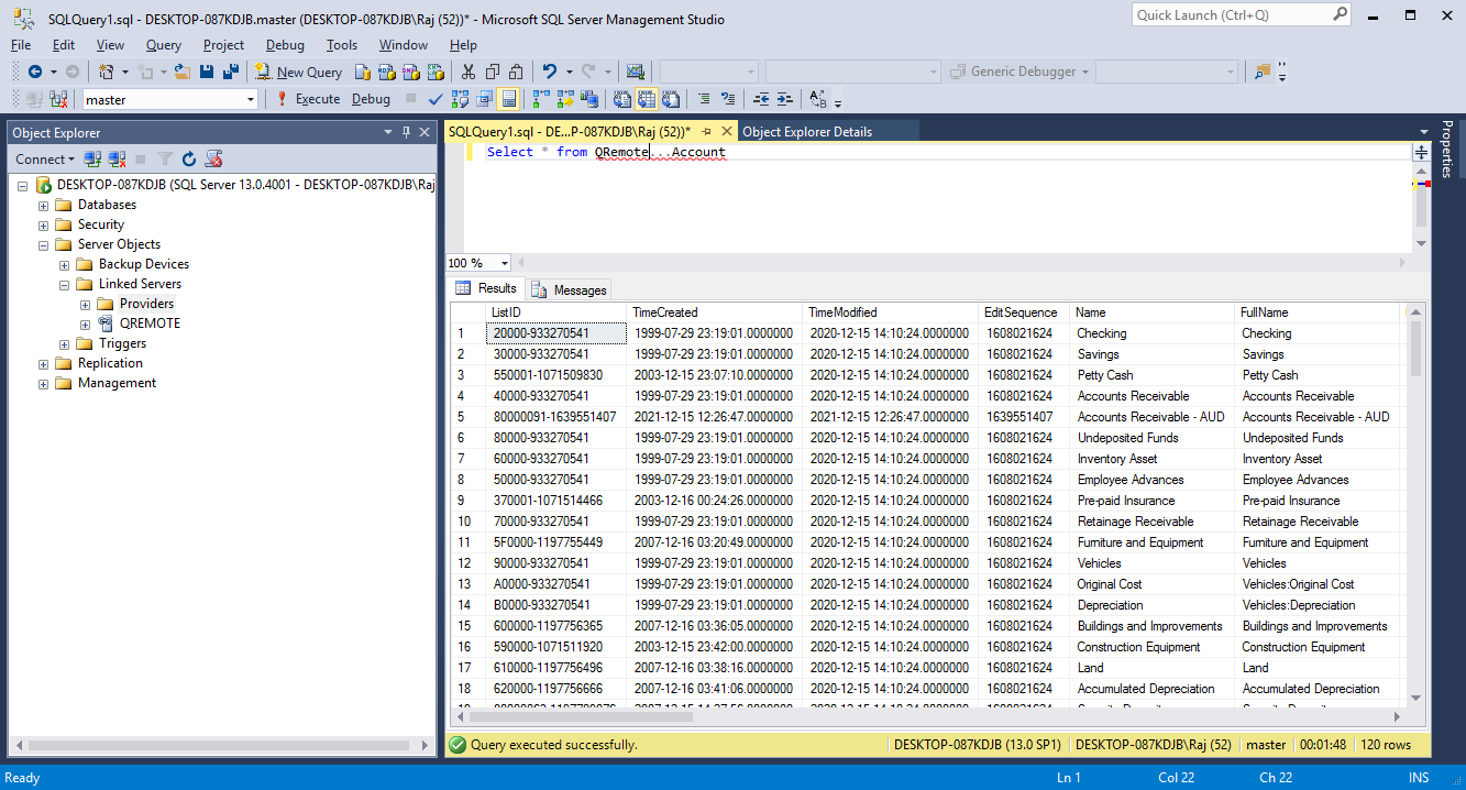 QODBC-Desktop] How to create Link Server with MS SQL 2005