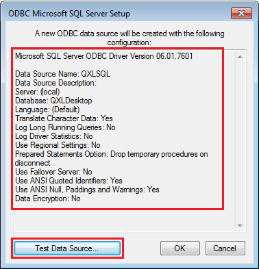Test the ODBC driver