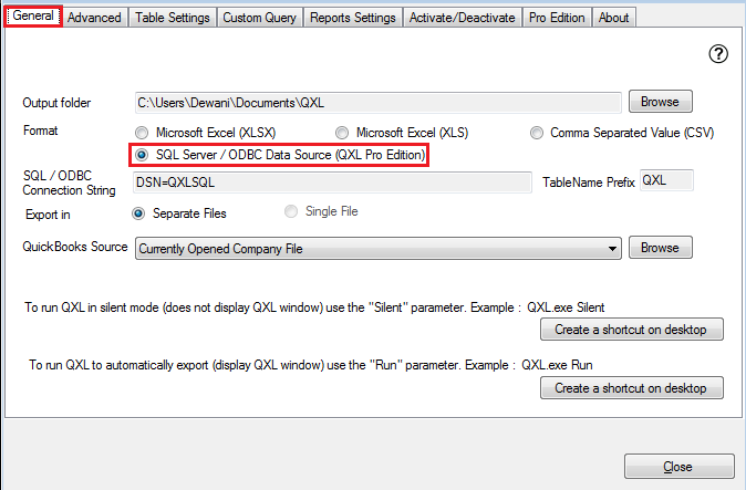 QXL-ALL] How to export to SQL Server - using SQL Default Driver