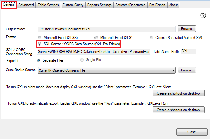 QXL-ALL] How to export to SQL Server - using SQL Default
