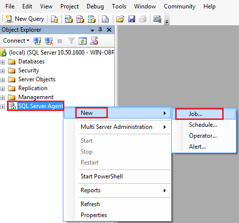 how to create sql database local