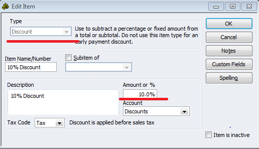 Qodbc desktop how to applying discounts to existing for Quickbooks discount invoice