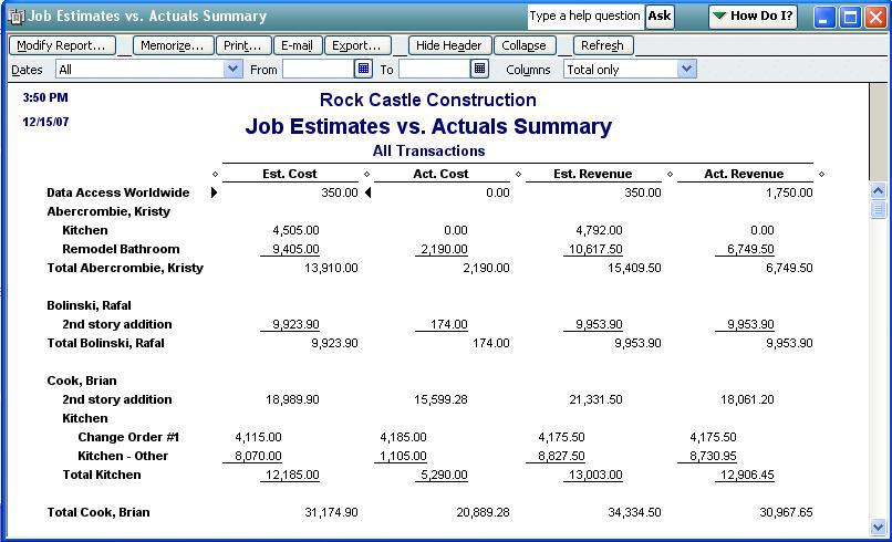 QODBC-Desktop] How to run a Job Estimates vs. Actuals Summary ...