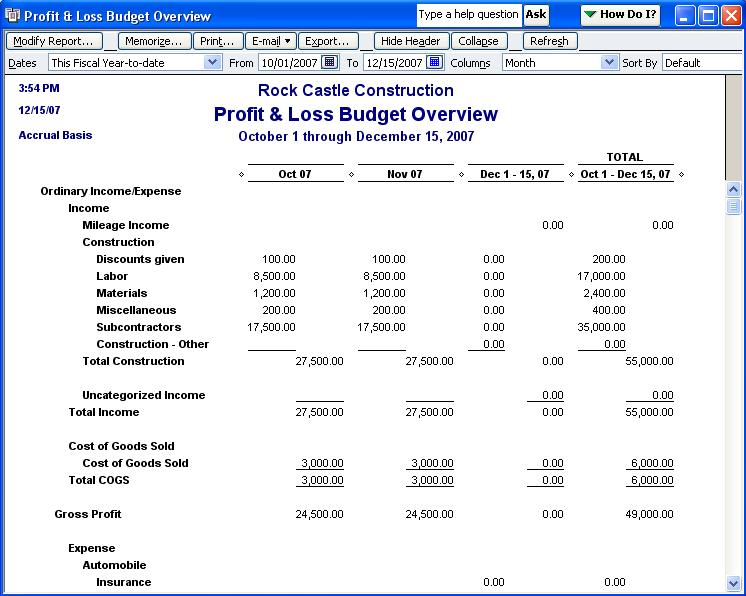 qodbc desktop how to run a profit and loss budget overview report