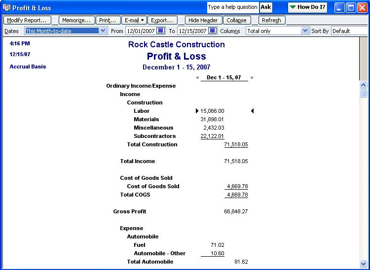 Qodbc Desktop How To Run A Profit And Loss Standard