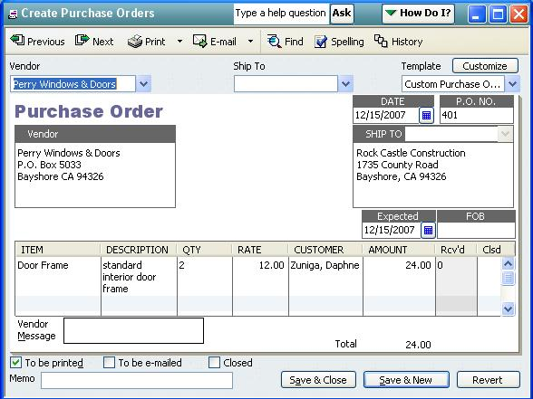 QODBCDesktop How to receive Items against a Purchase Order – Receiving Receipt