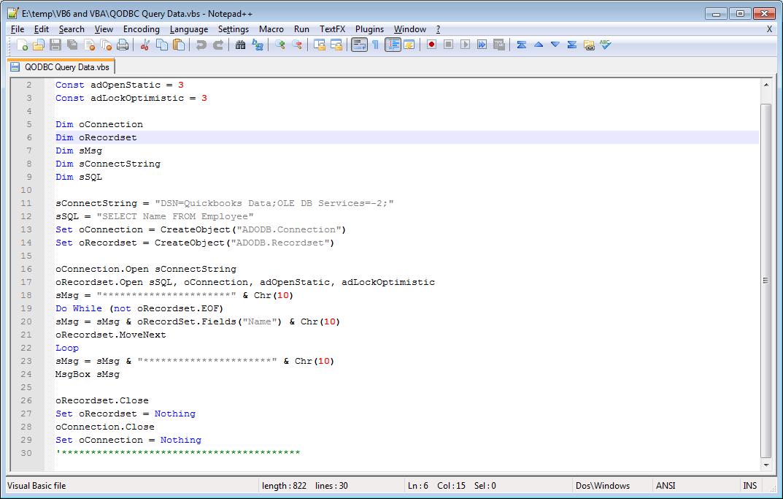 QODBC-Desktop] QODBC and Microsoft Visual Basic and ADO - Powered by